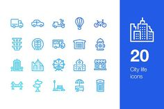 20 City life icons by Mir store on @creativemarket