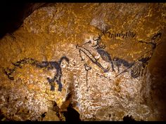 Lascaux--Rhinoceros, wounded man, and disemboweled bison (ca. Native American Tools, Native American Artifacts, Era Paleolítica, Fresco, Religions Du Monde, Paleolithic Art, Tempera, Lascaux, Soul Art