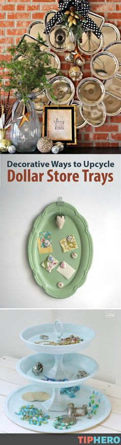 The Dollar Store is a wealth of random objects on the cheap. Take those plastic Dollar Store trays, which are great for serving finger food at parties. Sadly, once you're done, the trays probably end up in the trash, right? Well, no more! Here are 9 clever and stunning ways to salvage those trays and upcycle them into decorative pieces for your home. Click for the how-tos. Happy crafting! Dollar Store Christmas, Dollar Store Crafts, Dollar Stores, Christmas Gifts, Cute Crafts, Diy And Crafts, Diy Tassel Garland, Dollar Tree Decor, Party Table Decorations