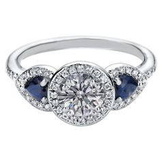 Halo Engagement Ring Blue Sapphire Side stones - ES1198
