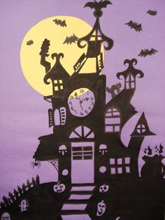 haunted house silhouettes by grade 8 students, ink, collage