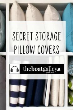 What can you do to make your boat pretty and help with storage? Throw Pillow Covers, Throw Pillows, Living On A Boat, Wifi Extender, Organizing, Organization, Secret Storage, Diy Boat, Storage Spaces