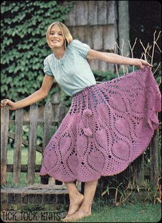 Vintage PDF crochet pattern to make a womans pineapple crochet skirt that can also be worn as a poncho. Has a drawstring with cute pompons on the