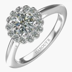 Harout R Floral Top Diamond Engagement Ring