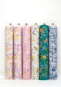 En Garden Incense by Nani Iro in pink ~ yellow/pink/blue flowers cotton double gauze fabric ~ Weave & Woven Japanese Sewing, Japanese Patterns, Hand Knitting Yarn, Thing 1, Contemporary Fabric, Peach Flowers, Double Gauze Fabric, Yarn Shop, Novelty Print