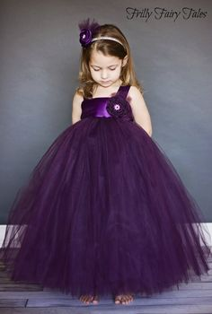 Plum Flower Girl Dress by FrillyFairyTales on Etsy