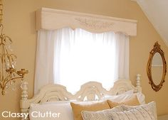 Easy DIY Valance/Cornice for around 10 bucks! This is so easy to get a custom look for your window treatments! Easy DIY Valance/Cornice for around 10 bucks! This is so easy to get a custom look for your window treatments! Valances & Cornices, Window Cornices, Window Coverings, Window Treatments, Pelmets, Wood Valances For Windows, Wood Blinds, Wooden Valance, Kitchen Sink Window