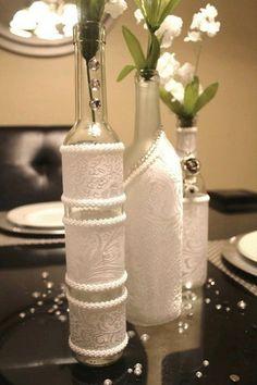 SET(3)- Decorated Wine Bottle Centerpiece White. Wine Bottle Decor. Wedding Table Centerpieces. Centerpiece Ideas