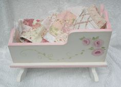 Doll Cradle Hand Painted with Pink Roses Includes Patchwork