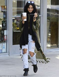 Vanessa Hudgens in a crop top and denim while grabbing coffee in Los Angeles | Daily Mail Online