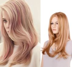 #Fantasyhair #syntheticwigs #highlightwigs #wigs                                                   Fashion Style Highlight Golden Brown with Pink Long Wavy Kanekalon Synthetic Wig www.fantasyhairbuy.com