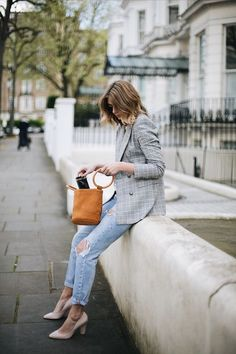What to Wear with your Check Blazer in 2018. Try distressed denim, block heel nude pumps and a bucket bag