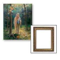 Madonna Of The Woods Gold Finish Framed Print Under Glass