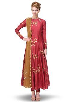 Buy Hand Embroidered Art Chanderi Silk Anarkali Suit in Maroon online, work: Embroidered, color: Maroon, usage: Party, category: Salwar Kameez, fabric: Art Silk, price: $340.02, item code: KUV153, gender: women, brand: Utsav