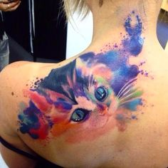 Cat Watercolor Tattoo Designs for Shoulder