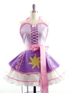 Retro Apron - Rapunzel Entangled Sexy Womans Aprons - Vintage Apron Style - Pin up Rockabilly Cosplay Lolita