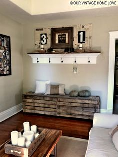 Entryway-Large crates and shelf. For shelf, get old door or long peace of wood (stain or paint white). Add two smaller pieces of wood and spray with chalkboard paint-connect to wood. Add knobs/hooks with labels for each person.