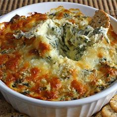 Hot Spinach and Artichoke Dip: http://www.keyingredient.com/recipes/14723185/hot-spinach-and-artichoke-dip/