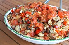 Whole Wheat Spaghetti with Roasted Peppers and Eggplant