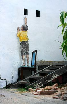 Stalking the Wall Painting by Ernest Zacharevic, Penang