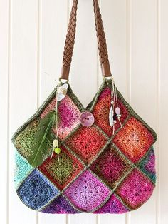 somuchyarnsolittletime:  (via Noro crochet boho squares raw crystal feather charms bag)