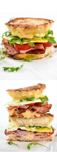 Ham and Smoked Gouda Breakfast Sandwich for an on the go breakfast in hand | foodiecrush.com
