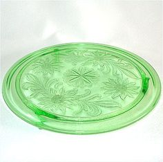 Sunflower Green Depression Glass Cake Plate  I have one and just found one for my Mum on ebay. Love this. :)