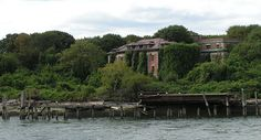 Riverside Hospital North Brother Island, NY Harbor.  Now closed and uninhabitable. North Brother Island is on the East River between the Bronx and Riker's Island. Its companion, South Brother Island, is a short distance away. Together, the two have a land area of 20.12 acres. They say it's haunted. Typhoid Mary also lived here. The island was the site of the wreck of the General Slocum, a steamship which burned on June 15, 1904. Over 1K died. http://en.wikipedia.org/wiki/PS_General_Slocum