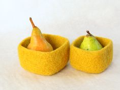 Square felted bowl Mustard yellow  - Cozy little storage - block color nesting wool bowls set of two - ring holder. $30.00, via Etsy.