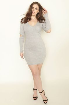99468c5db9c65 disconneted-gray-cut-out-sleeve-ribbed-mini-dress-