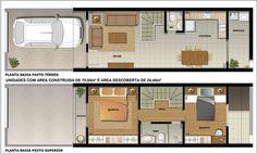 30 modelos de sobrados pequenos Narrow House Plans, Small House Floor Plans, Simple House Plans, Layouts Casa, House Layouts, Building A Small House, Craftsman Floor Plans, Duplex Plans, Loft Plan
