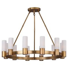 Chandelier with a natural aged brass finish and cylindrical shades.  Product: ChandelierConstruction Material: M...