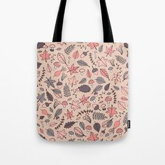 Autumn Pattern Tote Bag #faerieshop #illustration #drawing #fall #autumn #rosehips #mushrooms #leaves #pattern #bright #red #branch #pink #yellow #hedgehog #foliage #amanita #acorns #maple #sycamore #oak #tree #line #nature #art #sale #society6 #accessories #bag