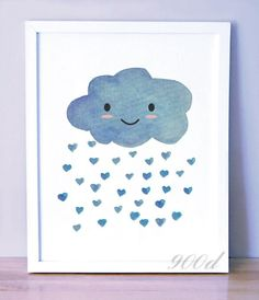 Cartoon Watercolor Blue Cloud Hearts Nursery Canvas Art Print