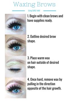 How to Wax Your Eyebrows at Home - Kara Metta- Diy Eyebrow Waxing, Facial Waxing, Waxing Eyebrows, Diy Wax, Wax Eyebrows At Home, Shape Eyebrows, Eye Brows, Waxing Tips, Maquillaje
