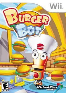 Burger Bot Wii - Burger Bot for the Nintendo Wii is a new addictive burger making game that is hot off the grill! You will be in charge of many burger making duties such as chopping, grilling, washing and making sure that demanding customers every need is met. You must also care for your burger bot and make sure he is in tip top burger making shape.