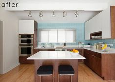 white and wood cabinets #kitchen #modern