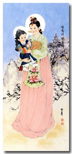한복 Hanbok : Korean traditional clothes[dress] | Korean Madonna (I love baby Jesus in a hanbok!)