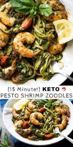 Glutenfrei & Keto Pesto Garnele Zoodles - New Ideas Keto Pesto Recipe, Keto Shrimp Recipes, Zoodle Recipes, Pasta Recipes, Diet Recipes, Healthy Recipes, Recipes Dinner, Lunch Recipes, Recipes With Pesto
