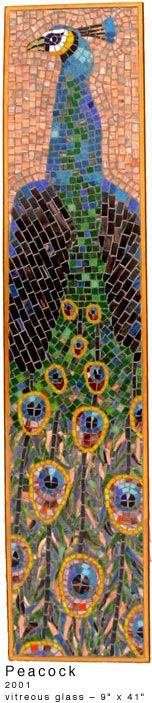"Mosaic peacock - Irina Charny - 9"" x 41"" -   glass - 2001 - Featured in The Art of Mosaic, Encyclopedia of Projects, Techniques and Designs, Sarah Kelly, Search Press Ltd, UK, 2003"