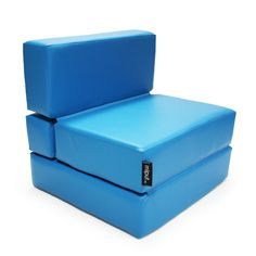 Puf Cama Convertible Polipiel Azul Turquesa