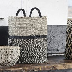 Tall Seagrass Baskets Medium : These tall Storage Baskets in a beautiful natural and black Seagrass design are generously sized for an array of storage uses. Gorgeous yet practical Danish design available in a choice of three sizes. Rope Basket, Basket Bag, Basket Weaving, Bamboo Basket, Boutique Deco, Sisal, Danish Design, Wicker Baskets, Woven Baskets