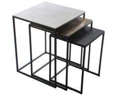Beistelltisch-Set Dwayne, 3-tlg., Aluminium, Messing