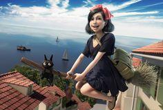 Kiki flying (Ghibli Fanart) by Gustavo Rios Kiki Delivery, Kiki's Delivery Service, Image Title, Weird And Wonderful, Art Portfolio, Animation Film, Zbrush, Studio Ghibli, Illustration Art