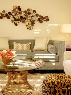 Love the Curtis Jere wall sculpture and the William Platner coffee table.