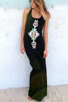 Cherokee Maxi Dress Black Bohemian Style by by HOBOIslandWear, $48.00