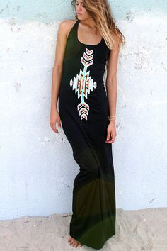 Cherokee Maxi Dress  Black  Bohemian Style by by HOBOIslandWear, $48.00