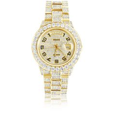 Rolex Day-Date 18k Yellow Gold 30ct Diamond Watch ($36,000) ❤ liked on Polyvore featuring jewelry, watches, gold wristwatch, gold jewellery, gold diamond watches, rolex wrist watch and diamond jewellery