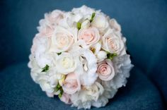 BG235 White lisianthus, white freesias, white and cream roses