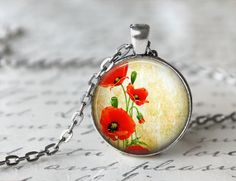 Red Poppy Floral Glass Pendant  Charm Picture by 5ChicsAndAPendant, $12.95
